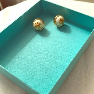 Tory Burch Cream and Gold Stud Earrings